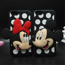 2 in 1 3D Cute Cartoon Minnie Mickey Soft Silicone Mobile Phone Bags Case Cover For iphone 6 plus 5 5S 5G