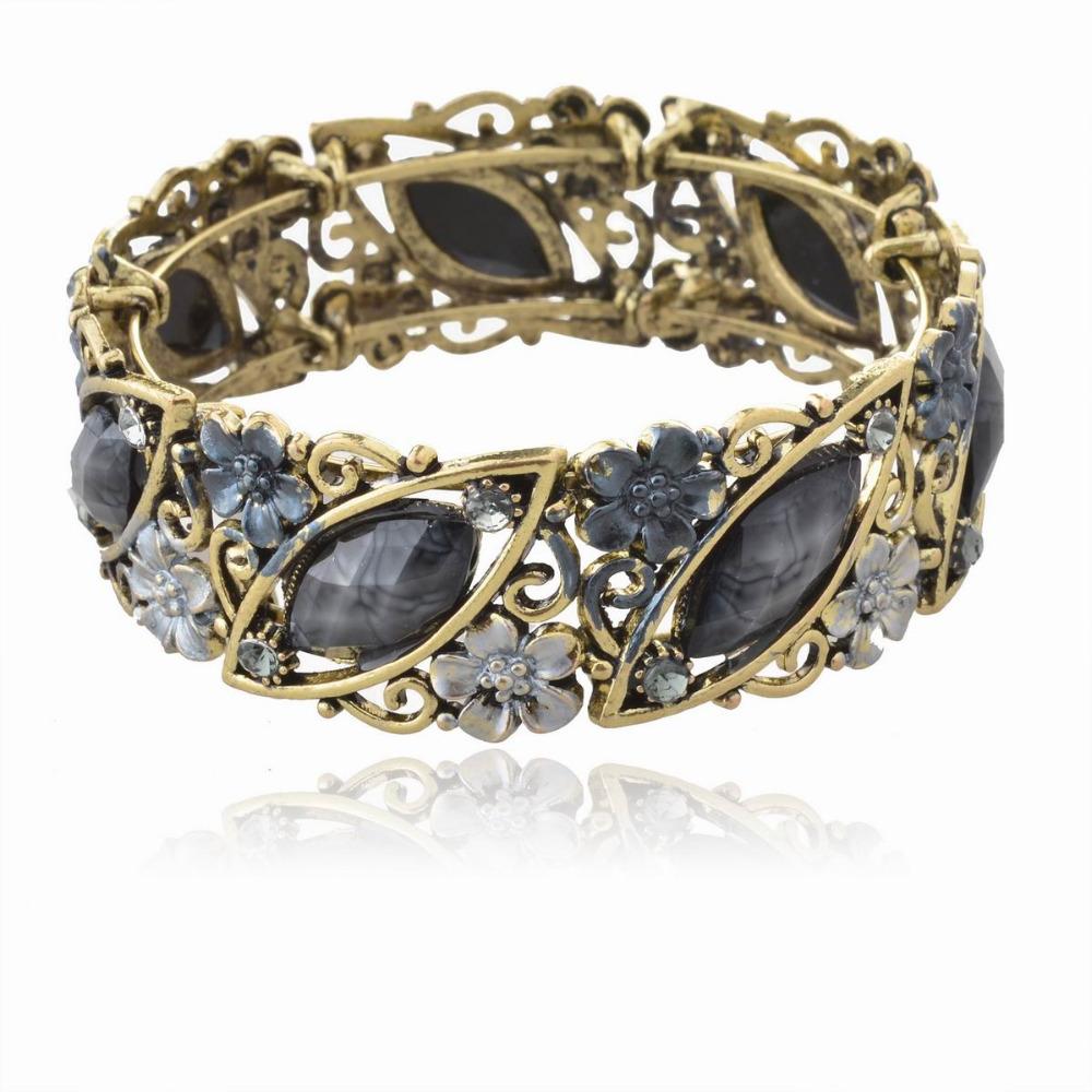 vintage retro copper black enamel flower gem diamante cuff