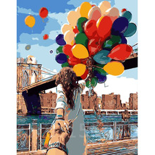 Multicolored Balloons Diy Digital Painting Hand Painted On Canvas Unique Gift For Lover Oil Painting By Numbers Wall Art E510(China (Mainland))