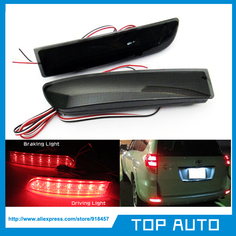 LY000-2 2pcs Black Smoked Lens LED Reflector Bumper Light Brake Lamp for Toyota RAV4 2006-2012 Scion XD 2008-2012(China (Mainland))