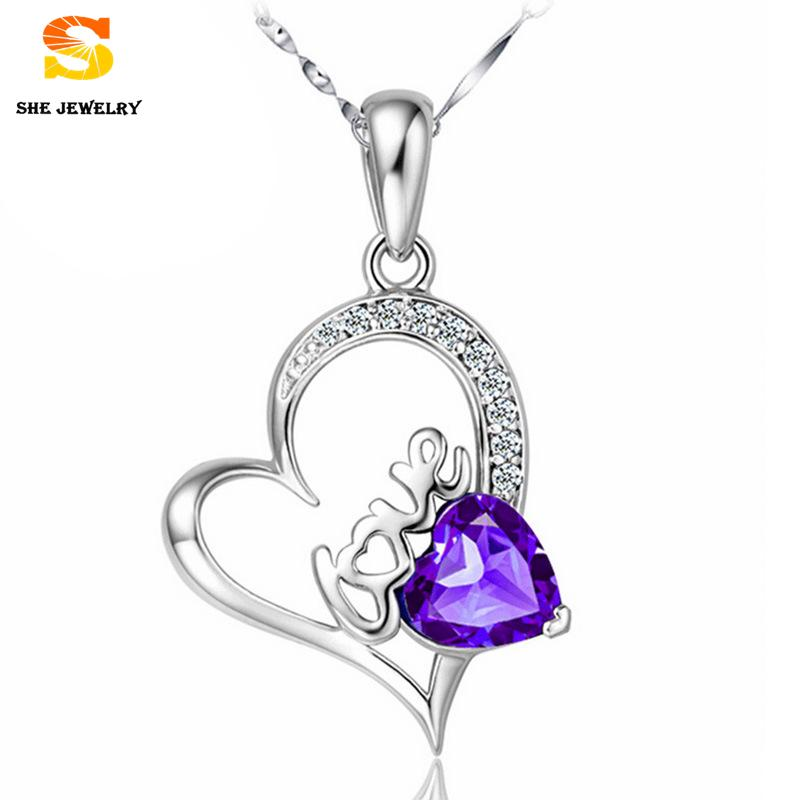 hand made Heart Shaped Fine Jewelry 925 Sterling Silver Pendant Necklace Mosaic Amethyst Crystal And Letter Love Pendant(China (Mainland))