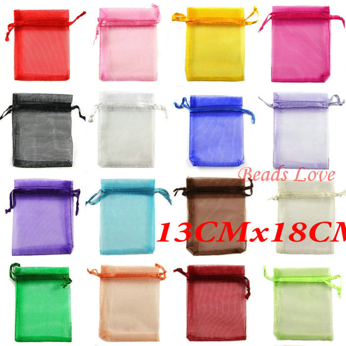 Free Shipping 100PCS Mix Jewelry Packing Drawable Organza Bags Wedding Gift Bags 13CMX18CM(W03209)(China (Mainland))