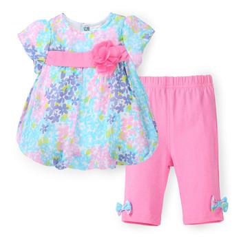 2016 Summer Girls Clothes Set Floral Kids Top Suits Chiffon T shirt + Capri Pants 2 PCS Boutique Short Baby Girl Clothes