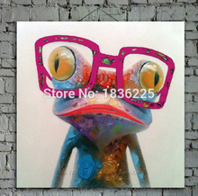 Cartoon Animal Abstract Oil Painting Frog Wears Glasses Wall Stickers for Kids Rooms for Living Room Bedroom Dining Office Cafe(China (Mainland))