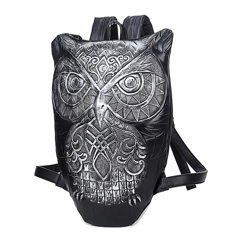 Фотография Europe and the United States of cool animal motifs satchel The owl backpack backpack PU leisure boom for men and women