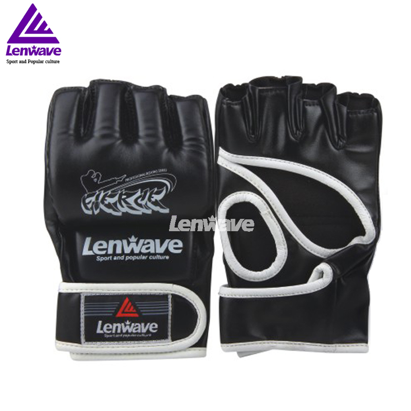 Men Black Gloves Cool MMA Muay Thai Training Punching Bag Half Mitts Sparring Boxing Gloves Gym(China (Mainland))