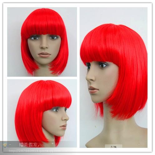 zhao07899111++Womens Short Wig Rockstar Model Hair Chin Length Bob Bangs Adult 8881 AB1(China (Mainland))