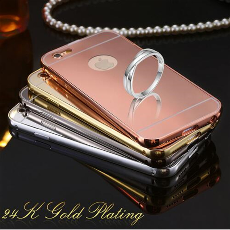 """For iPhone 5 / 5S 4.7"""" 6 / 6S 5.5"""" Plus Metal Aluminum Bumper + Acrylic Hard Mirror Caes Back Hybrid Cell Phone Cover Cases(China (Mainland))"""