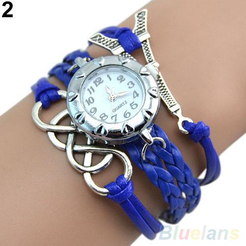 Гаджет  Vintage Eight Love Charm Leather Band Bracelet WristWatches 26JF 6J2Q None Часы