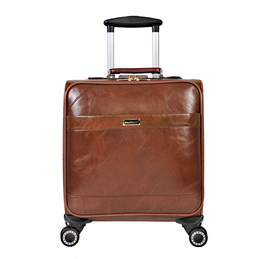 2015 Cheap Men Women Small Travel Luggage PU Leather Portable Trolley Suitcases with Wheels(China (Mainland))