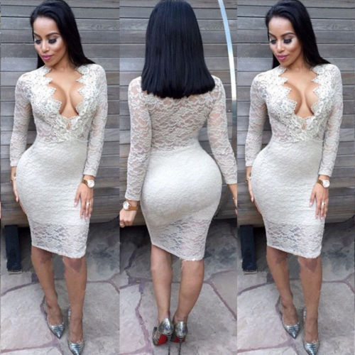 2016New Women Long Sleeve Bandage Bodycon Party Mid White Lace Dress Women Deep V Neck Long-sleeved hollow lace dress autumn ves(China (Mainland))
