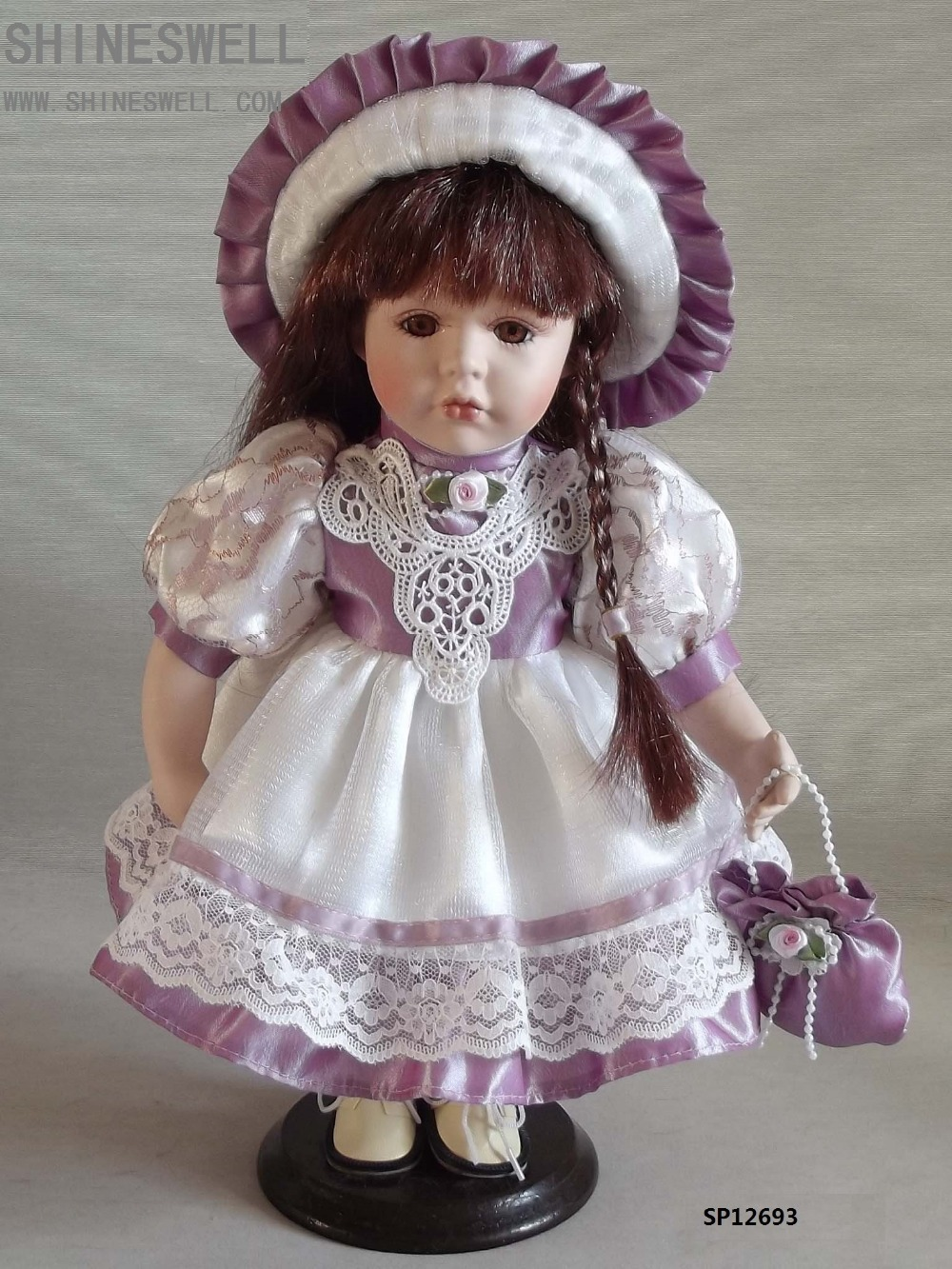 FREE SHIPPING 12 INCH/ 30CM PORCELAIN DOLL WITH MANUFACTURER PRICE AND AMERCIAN DOLL FOR DIRECTION(China (Mainland))