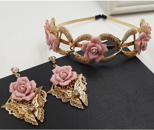 2015 Top Fashion Gold Chunky Chain Large Pink Fimo Flower Headbands Baroque Fairy alloy rhinestone butterfly hairband jewelry(China (Mainland))