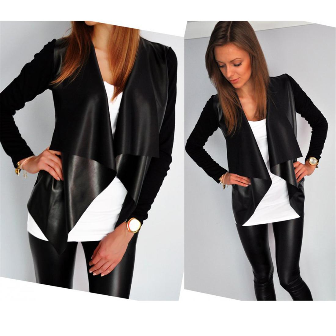 Autumn Winter PU Leather Jackets Women's Long Sleeve Irregular Punk Rock Basic Coats 2017 Slim Fit Patchwork Cool Black Outwear