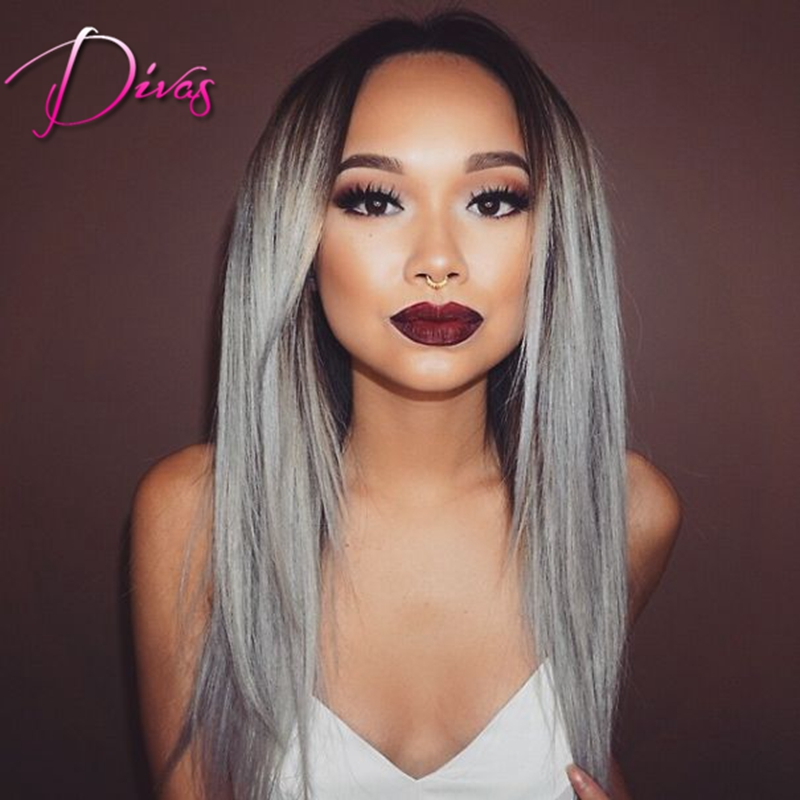 Fashion Ombre Silver Grey Synthetic Lace Front Wigs Glueless Long Natural Black/Gray Heat Resistant Hair Wigs 18-24inch Instock<br><br>Aliexpress