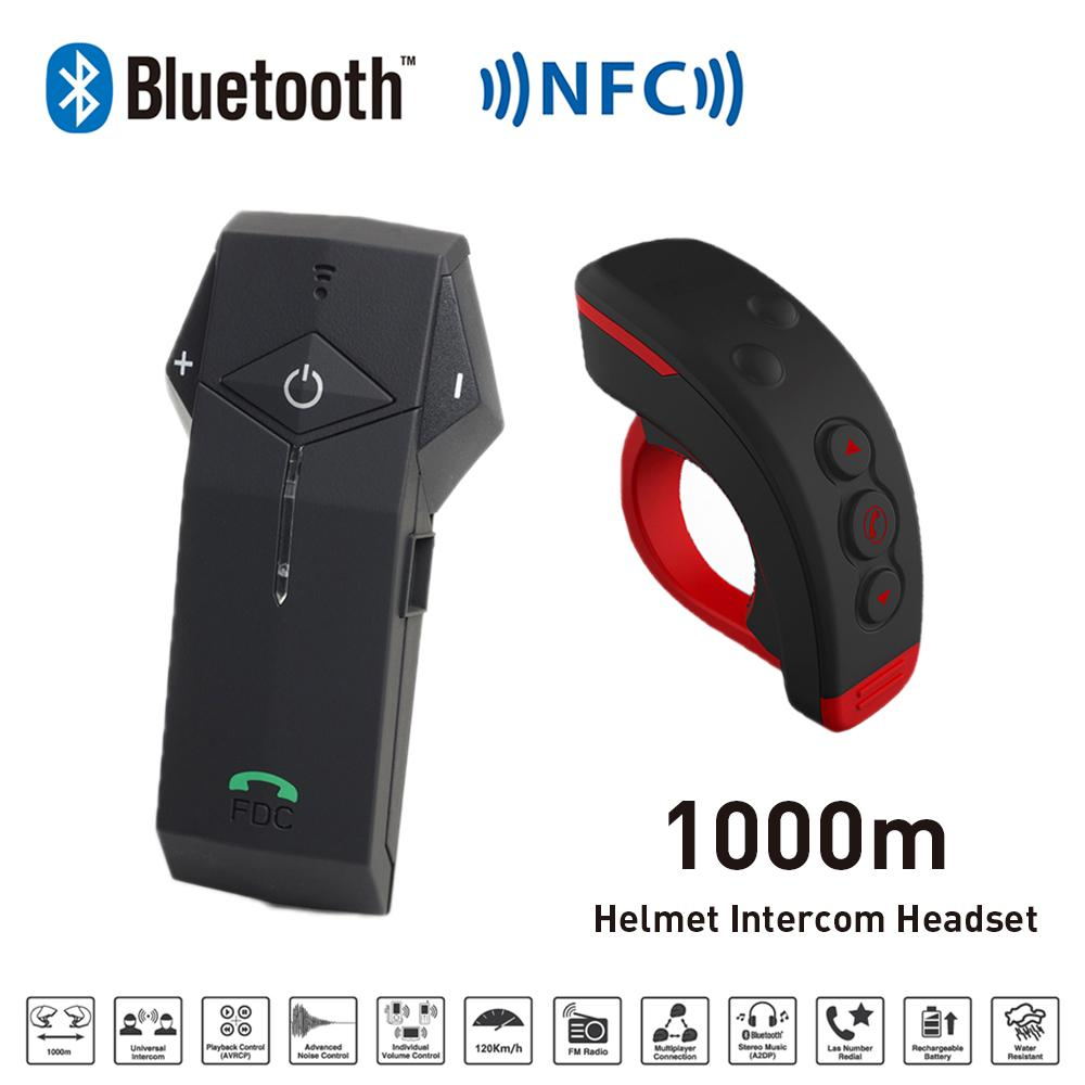 New 1000M BT Motorcycle Helmet Bluetooth Intercom Interphone Headset intercomunicador with NFC FM Functon + L3 Remote Control(China (Mainland))