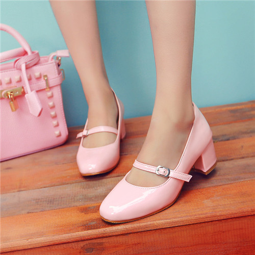 4 Color Plus Size US4.5-10.5 Spring Autumn Ladies Round Toe Mary Janes Sweet Lolita Shoes Girls Block Mid heel Casual - woaiwojia store
