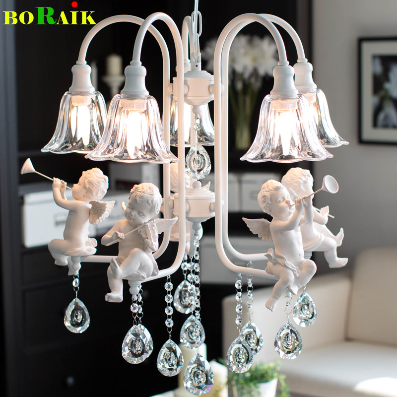 Modern crystal Chandeliers with the angel for living room light modern lamps lustre lighting led