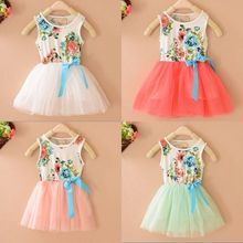 Hot sellingNew Baby Kids Girls Flowers Princess Tulle Tutu Dress Bow knot Party Vest Dress(China (Mainland))