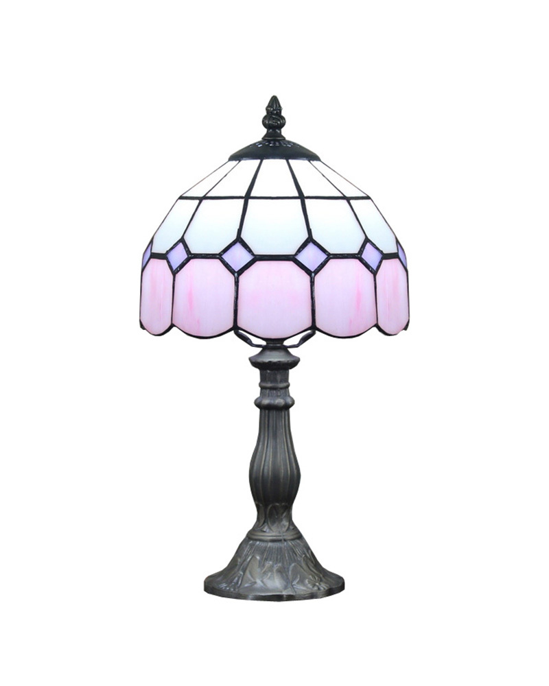 Ems Free Ship Table Lamps Modern Tiffany Pink Glass Desk
