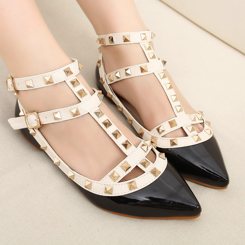 2015 Europe big rivet Warren v shoe strap pointy flat shoes women s shoes at the