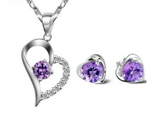 2016 hot Crystal heart Jewelry Sets 925 Silver Heart Necklace & Earring beautiful wedding sets for woman gift jewelry