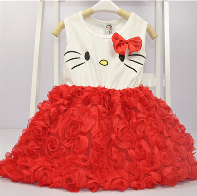 Wholesale - -Children clothes girl lace dress Baby Girls rose cartoon clothes Dresses party dress 5p/l<br><br>Aliexpress