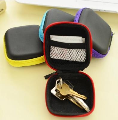 Candy color PU data cable earphone storage box square zipper design Mini small sundries storage bins free shipping(China (Mainland))