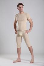 Mens sex Ultra-thin tight sleepwear set viscose transparent male sexy t shirt + pajama pants smoothens home clothes(China (Mainland))
