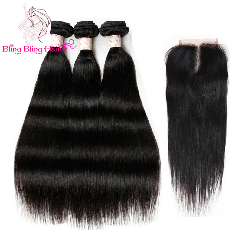 3 Bundles Malaysian Virgin Hair Straight With Closure Grade 7A Unprocessed Virgin Malaysian Hair Weave Bundles With Lace Closure