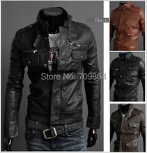 Brand NEW Hot Fashion mens Winter casual Breasted men's Overcoat zipper leather jackets coats / 3 color / male PU jacket coat