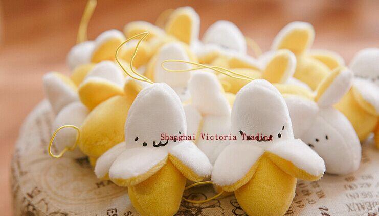 Super Cute 6CM Little Yellow Banana Plush Stuffed TOY , small String Keychain plush doll TOY(China (Mainland))