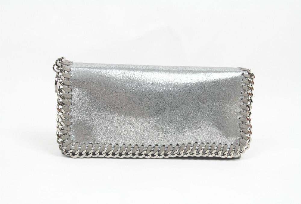 Free shipping! Metallic Silver Women's Purse Wallet size 20 x 10 x 5 cm(China (Mainland))