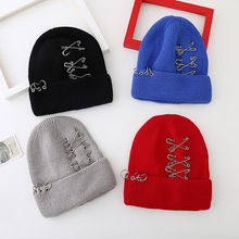 Punk New Three Ring Sanbie Needle Clip Knitted Hat Color Ear Warm Winter Couple Beanies(China (Mainland))