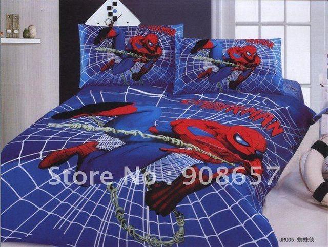 Качество хлопок пуховое одеяло комплект синий мультфильм человек паук шаблон один мальчик постельное белье с листов постельное белье