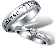 Noble Silver 925 Love Ring Crystal Nickel Free Anti-Allergic Wedding Ring Set 18K Gold Plated for Women J205