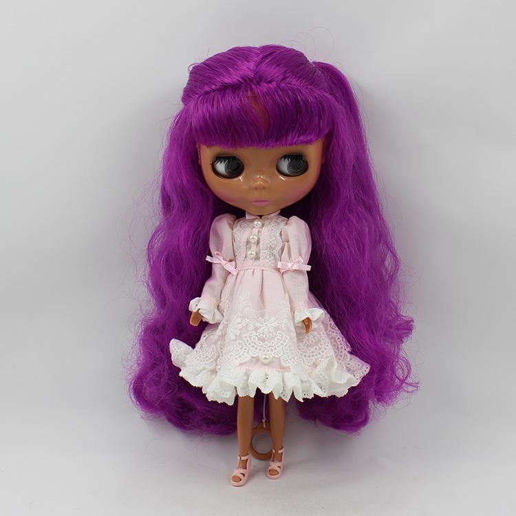Фотография Blyth doll nude bjd 1/6 body doll Black muscle doll purple long hair with bangs modified DIY bjd dolls for sale