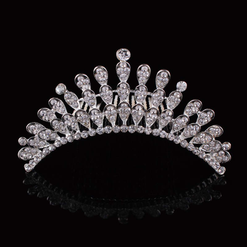 luxury elegant wedding bride crown headwear beautiful rhinestone tiara bridal jewelry hair comb(China (Mainland))