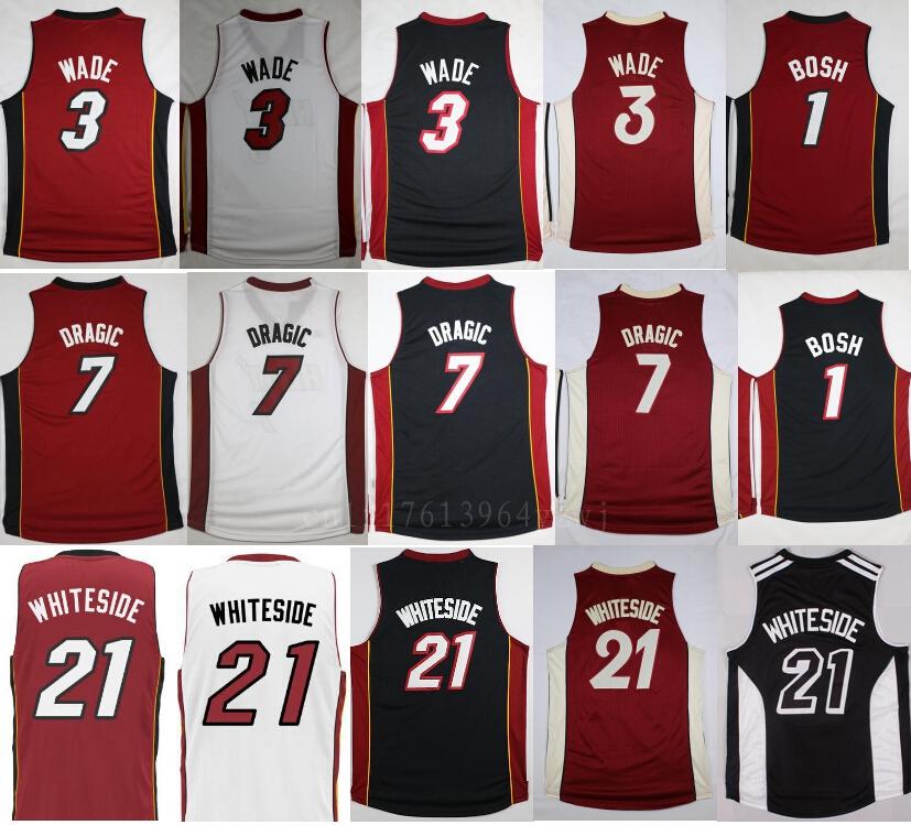 Hot Selling 1 Chris Bosh Basketball Jerseys Sports 3 Dwyane Wade 21 Hassan Whiteside Jersey Mens Red Black White 7 Goran Dragic<br><br>Aliexpress
