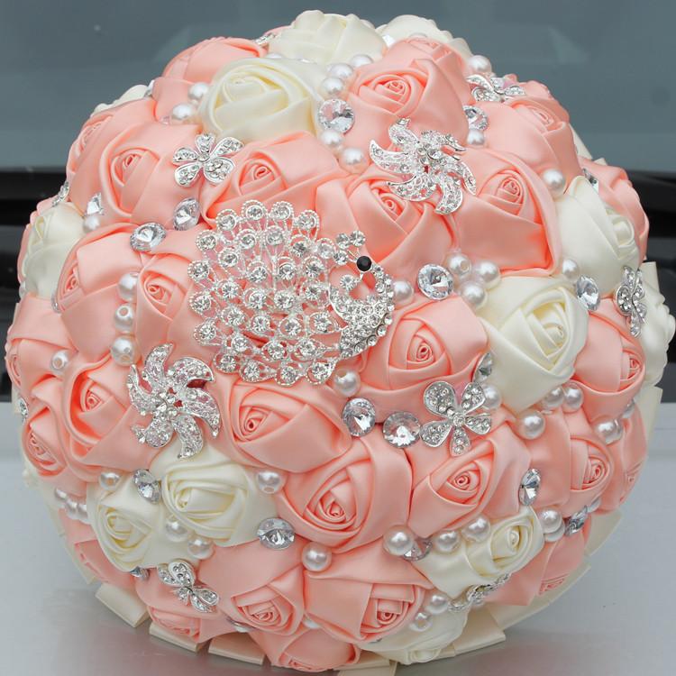 Handmade Brooch Diamonds Peacock Cream Wedding Bouquet Jewelry Holding Artificial Flowers Bridal&Bridesmaid Wedding Bouquet W231(China (Mainland))