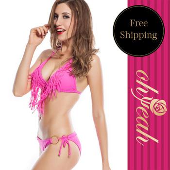 DY30514  Wholesale and retail size S M L 2 difference style cheap 8 colors women's bikini swimwear hot tassel bikini swimwear