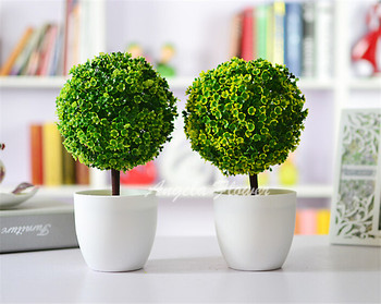 Artificial Plants Ball Bonsai Fake Tree Decorative Green Plants For Home Decoration Garden Decor 4 Colors 1 set ( plants+vase)
