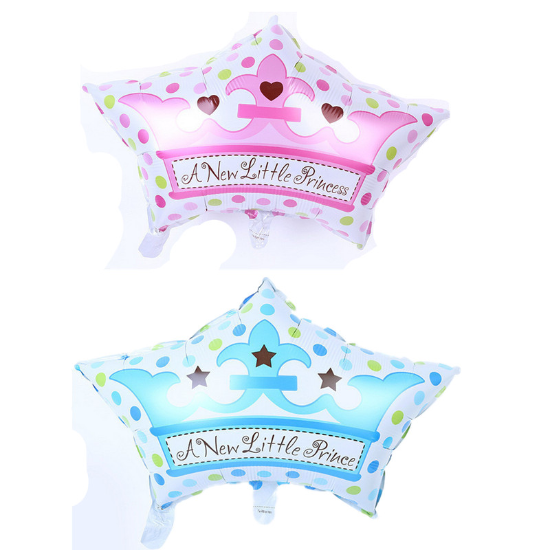 Free shipping new export blue pink crown cap aluminum balloons birthday baby full moon party wedding decorations(China (Mainland))