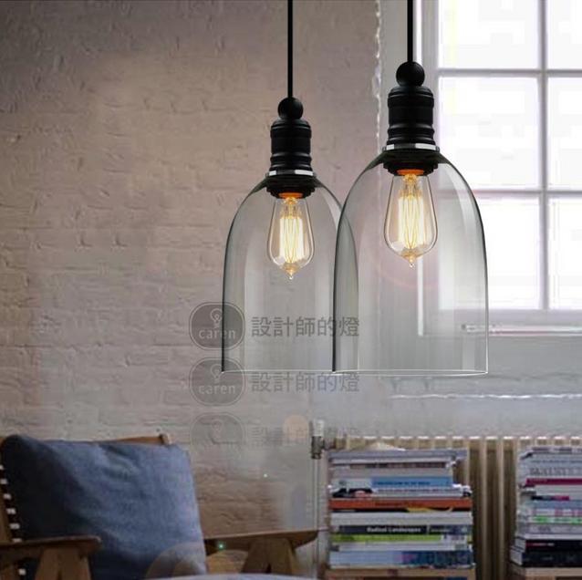 Modern crystal bell glass pendant lights Vintage industrial lighting Edison bulb droplight Home luminaire(China (Mainland))