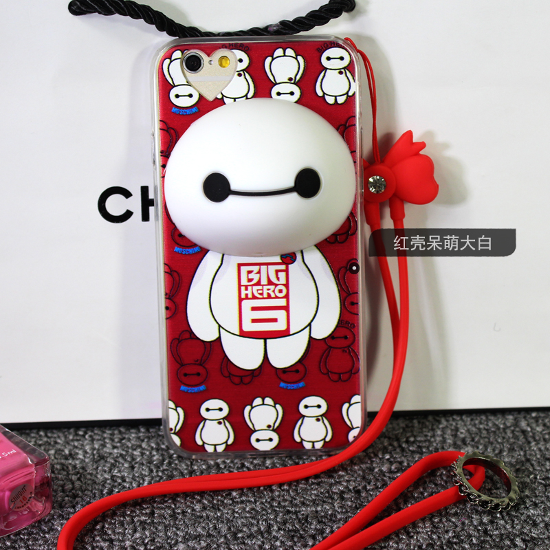 3D Cute Big Hero Silicone Stand Earphone Winder Soft TPU Frame Cell Phone Back Cover Case iPhone6 6s 6plus plus rope free - accessories suppermarket store