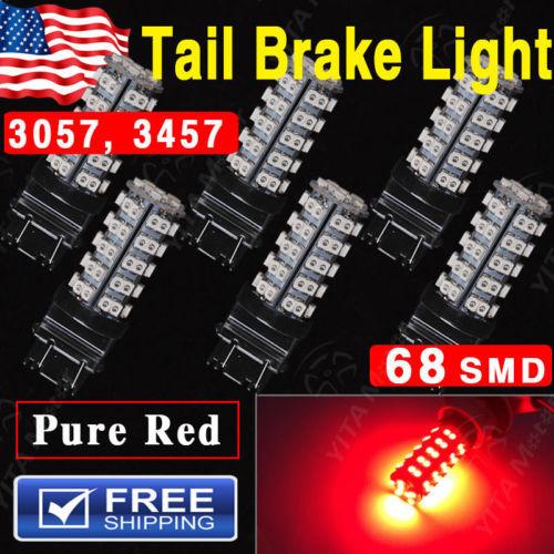 6Pcs/lot Pure Red Car led Lights 12V 272 LUMENS 3157 3057 3457 4157 3047 Brake Tail Stop Light LED Lamp 68SMD led Bulbs for Cars(China (Mainland))