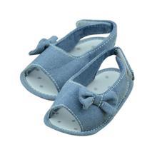 2015 New spring Summer Bowtie infant Girls sandals Emerging Brands Children Girl blue denim casual baby Princess shoes(China (Mainland))