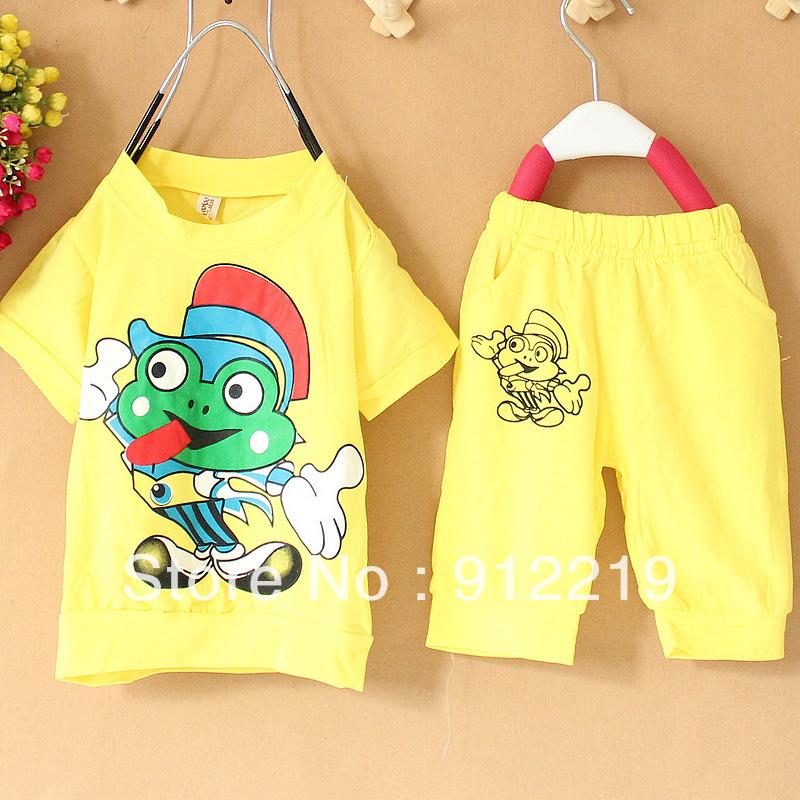 Free Shipping Retail Kids Cotton Cartoon Frog Pattern Clothing Sets Kids Sets Children Clothing(China (Mainland))