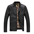 2016 New Fashion Men s PU Jackets Stand Collar Mens Autumn Leather Jackets Casual Outerwear for