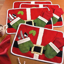 Buy Christmas Santa Claus Pocket Cutlery Holder Table Mat Placemat Xmas Decoration for $2.94 in AliExpress store